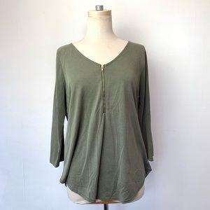 Tops - Green Envelope Scoop Neck Zip ¾ Sleeve Top